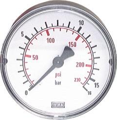 """Druckanzeige 50mm Durchmesser, R1/4"""", 0-16bar"""