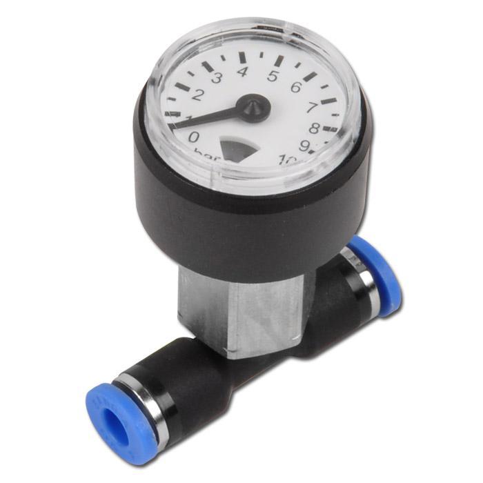Druckanzeige zum Leitungseinbau für 6mm Steckfittinge, 0-10 bar